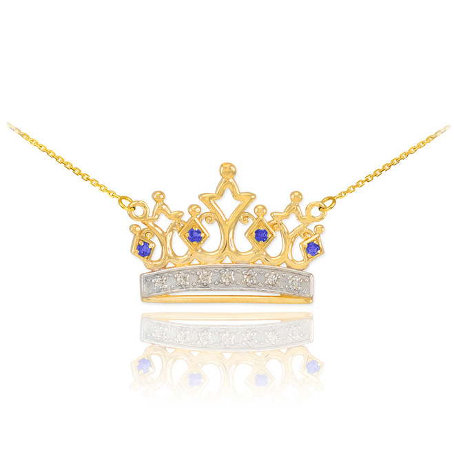 14k Gold Sapphire Crown Necklace with Diamonds