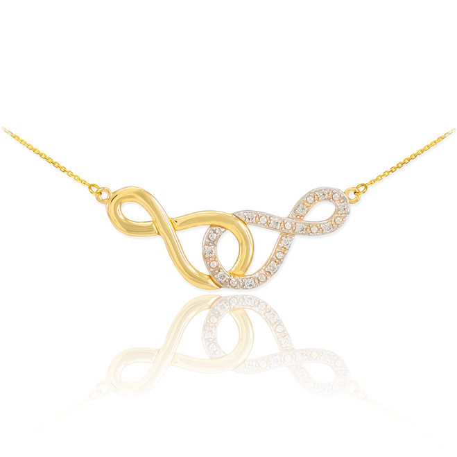 14k Gold Double Infinity Necklace with Diamonds