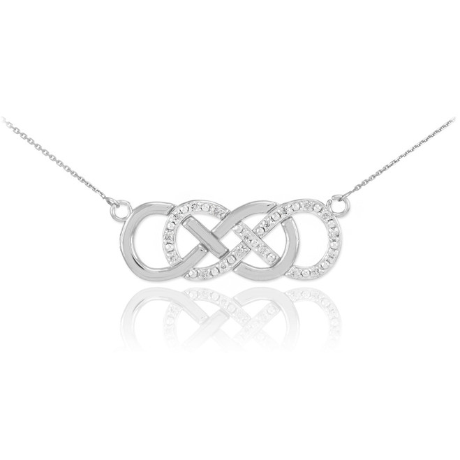 14k White Gold Diamond Double Infinity Necklace