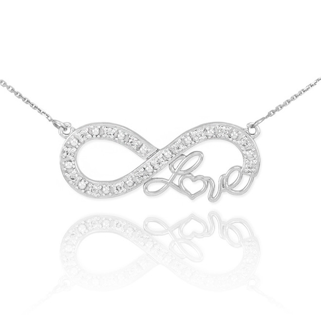 "14k White Gold Infinity ""Love"" Script Necklace with Diamonds"