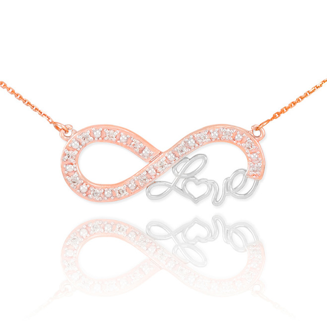 """14k Two-Tone Rose Gold Infinity """"Love"""" Script Necklace with Diamonds"""
