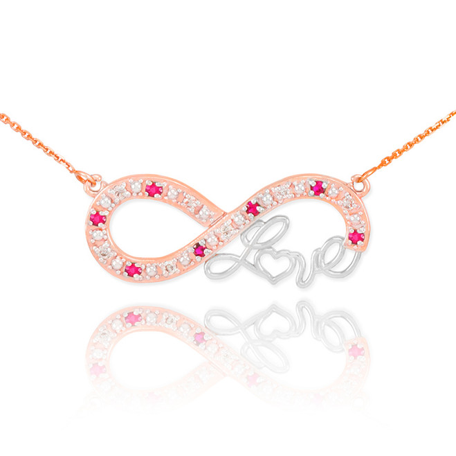 """14k Two-Tone Rose Gold Ruby Infinity """"Love"""" Script Necklace with Diamonds"""