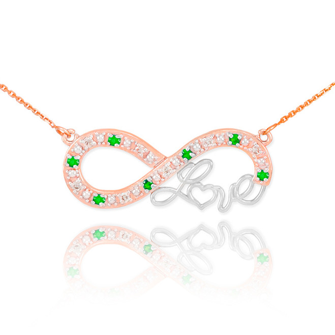 """14k Two-Tone Rose Gold Emerald Infinity """"Love"""" Script Necklace with Diamonds"""