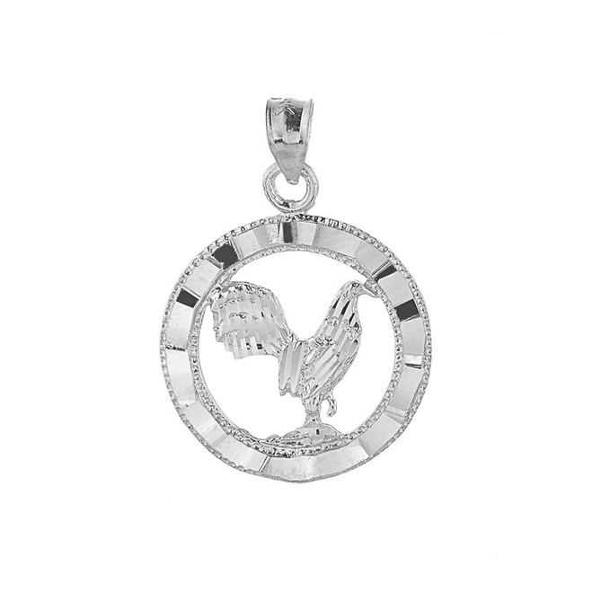 Polished White Gold Rooster Charm Pendant