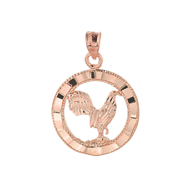 Rose Gold Rooster Charm Pendant