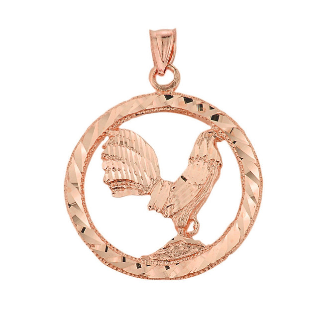 Rose Gold Rooster Pendant