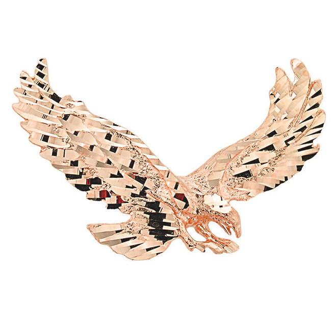 Rose Gold Soaring Eagle Pendant