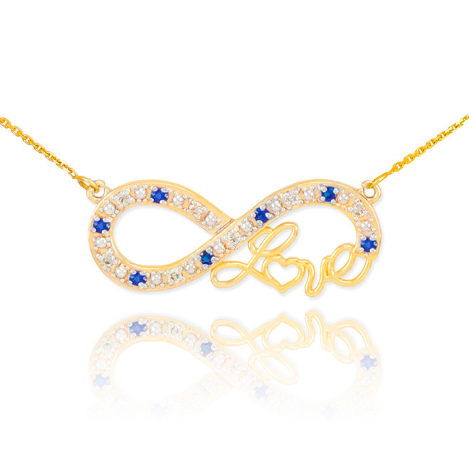 "14k Gold Sapphire Infinity ""Love"" Script Necklace with Diamonds"