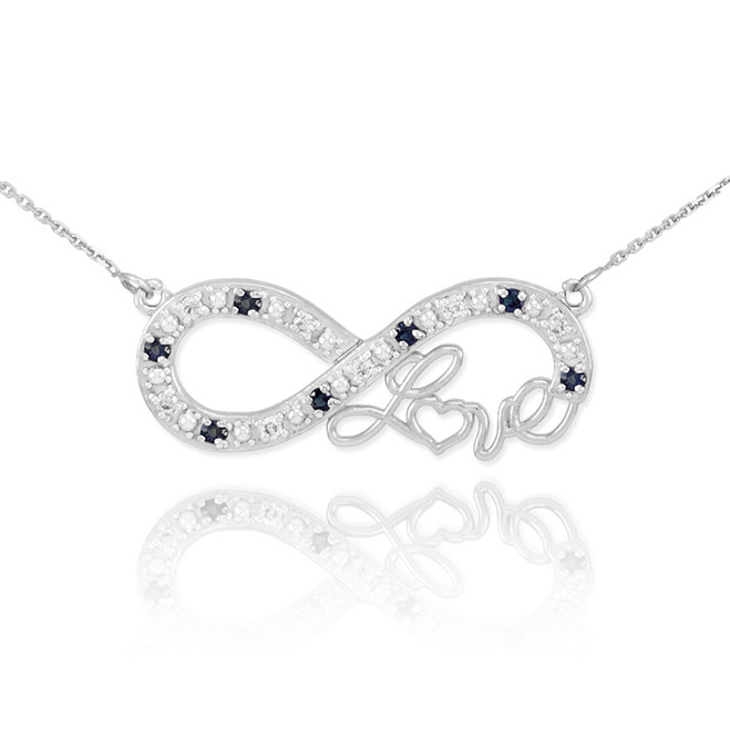 """14k White Gold Infinity """"Love"""" Script Necklace with Black and Clear Diamonds"""