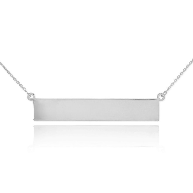 14k White Gold Engravable Name Bar Necklace