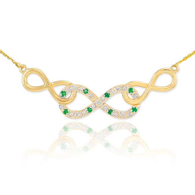 14k Gold Emerald Triple Infinity Necklace with Diamonds