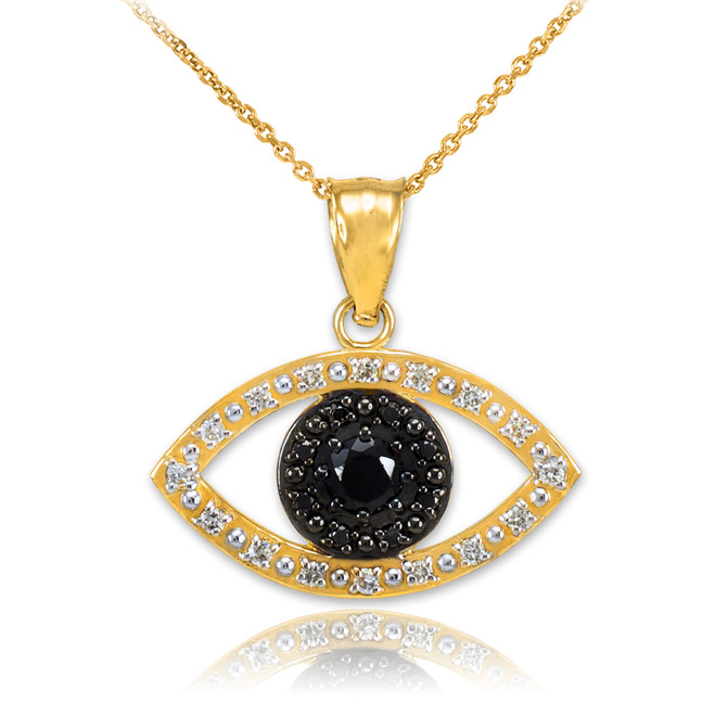 Gold Evil Eye Pendant  Necklace with Clear and Black Diamonds
