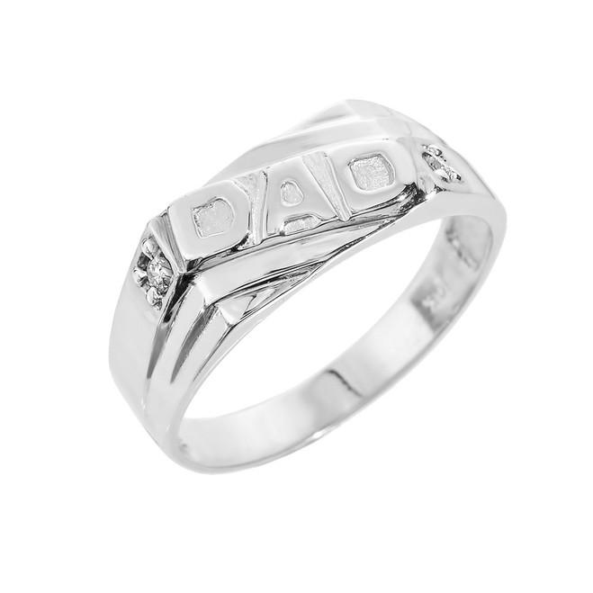"Sterling Silver Men's Diamond ""DAD"" Ring"