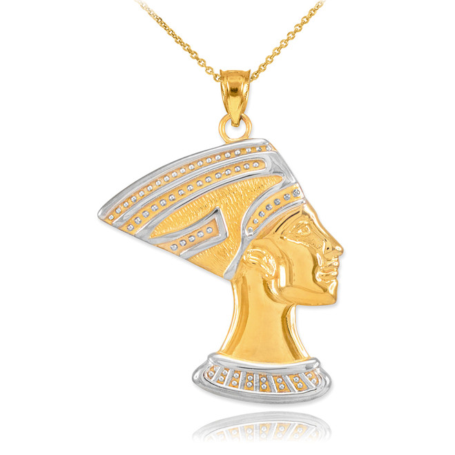 Two-Tone Gold Queen Nefertiti Pendant Necklace