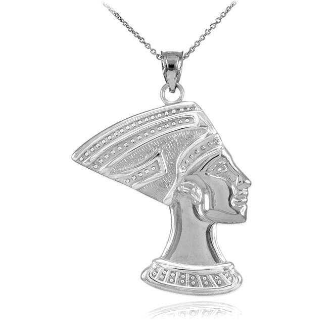 White Gold Queen Nefertiti Pendant Necklace