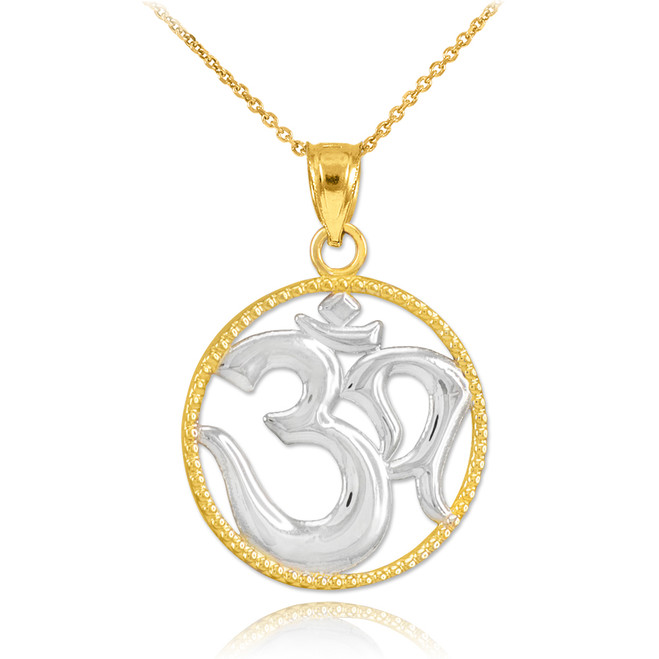 Two-Tone Gold Om Symbol Charm Pendant Necklace