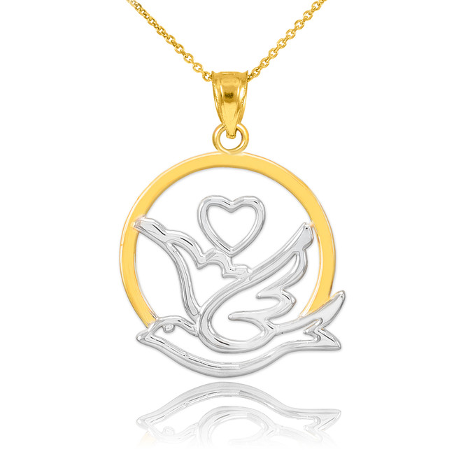 Two-Tone Gold Dove with Heart Pendant Necklace