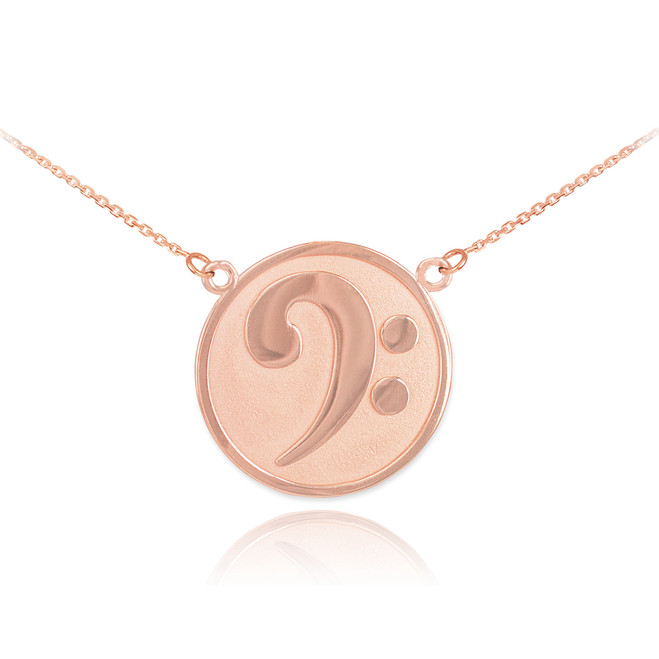 14k Solid Rose Gold Textured Bass F-Clef Charm Necklace