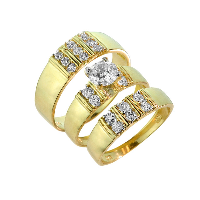 3-Piece Gold Cubic Zirconia Wedding Ring Set