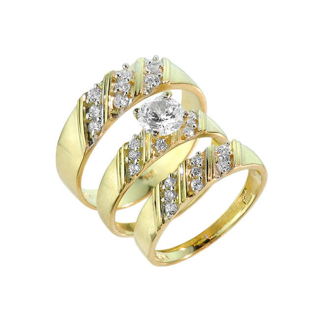 Gold CZ 3 Piece Wedding Ring Set