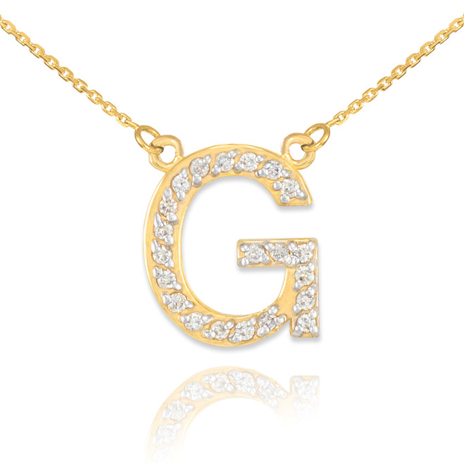 "14k Gold Letter ""G"" Diamond Initial Necklace"