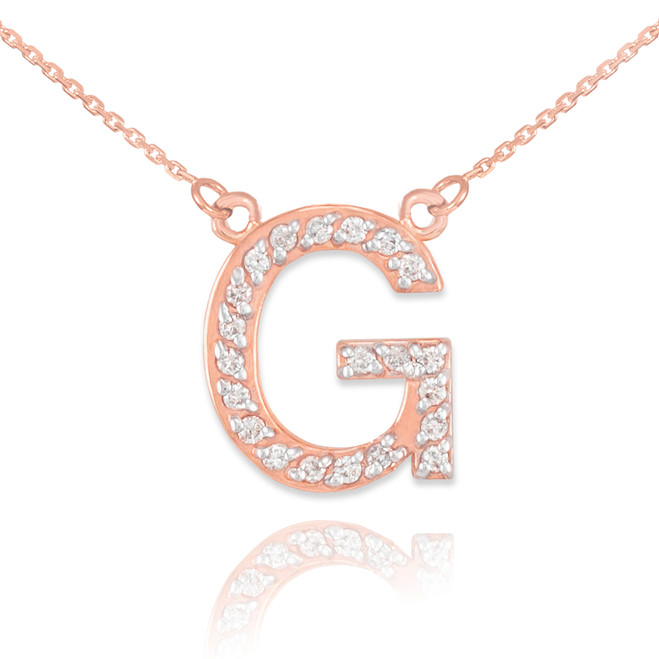 """14k Rose Gold Letter """"G"""" Diamond Initial Necklace"""