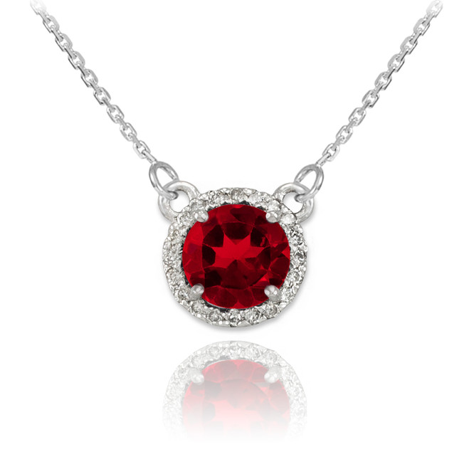 14k White Gold Diamond Ruby Necklace