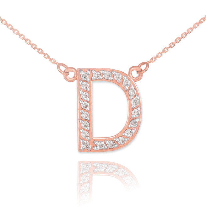 "14k Rose Gold Letter ""D"" Diamond Initial Necklace"