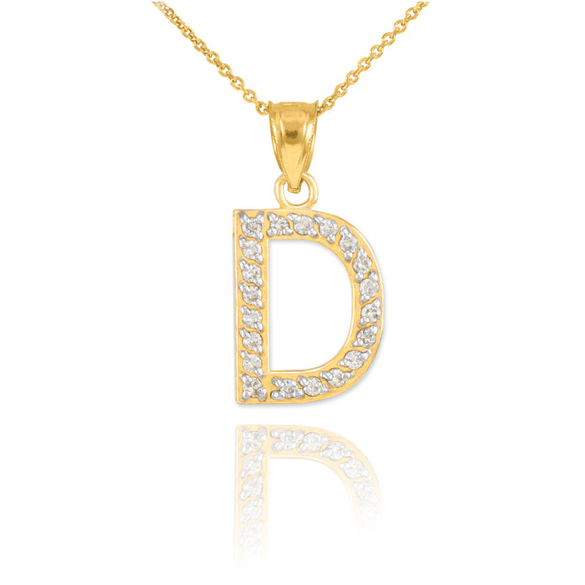 "Gold Letter ""D"" Diamond Initial Pendant Necklace"