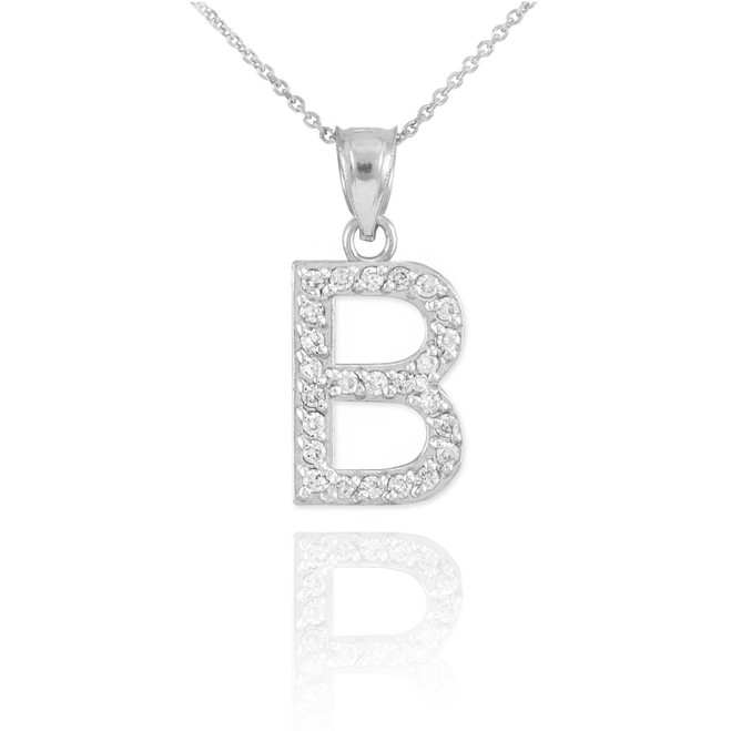 "White Gold Letter ""B"" Initial Diamond Pendant Necklace"
