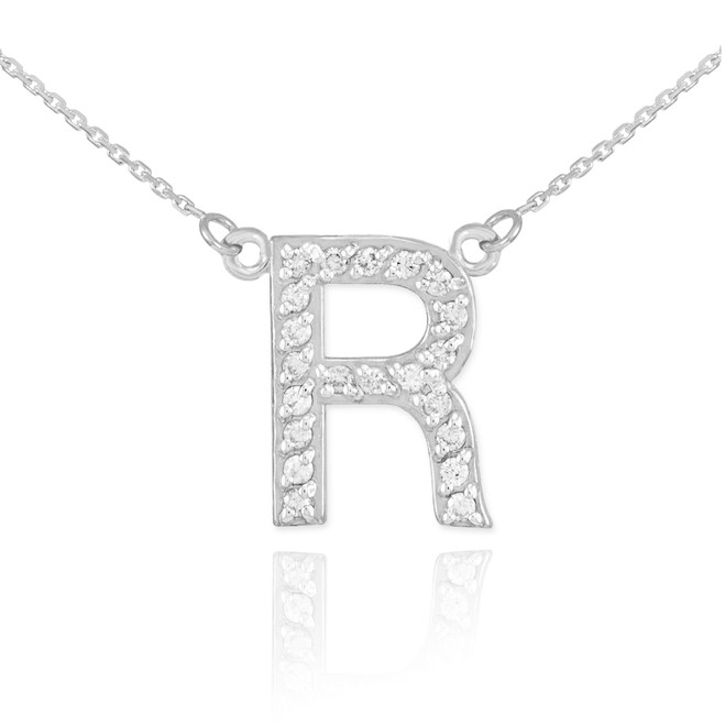 "14k White Gold Letter ""R"" Diamond Initial Necklace"