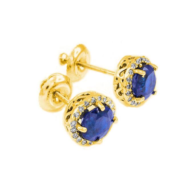 14k Gold Diamond Blue Sapphire Earrings