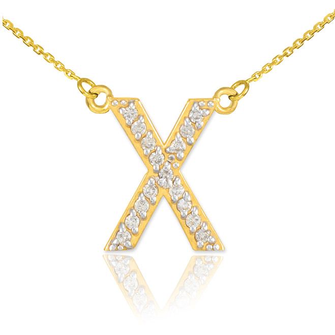 "14k Gold Letter ""X"" Diamond Initial Necklace"
