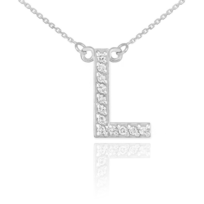 "14k White Gold Letter ""L"" Diamond Initial Necklace"