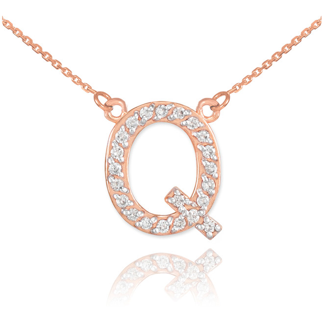 "14k Rose Gold Letter ""Q"" Diamond Initial Necklace"