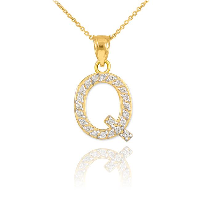 "Gold Letter ""Q"" Diamond Initial Pendant Necklace"