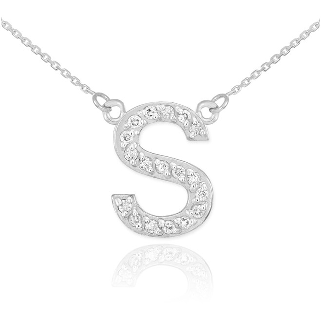 """14k White Gold Letter """"S"""" Diamond Initial Necklace"""
