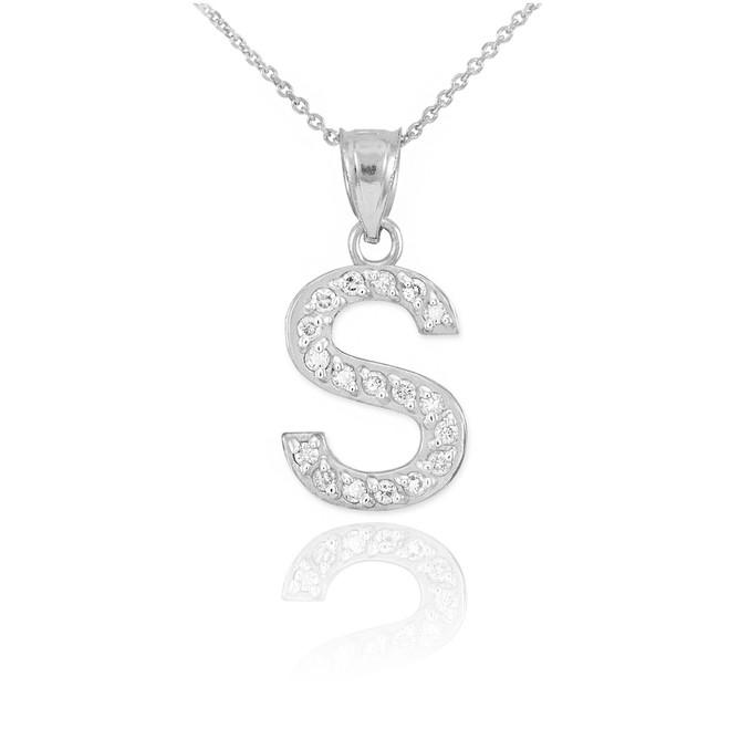 "White Gold Letter ""S"" Diamond Initial Pendant Necklace"