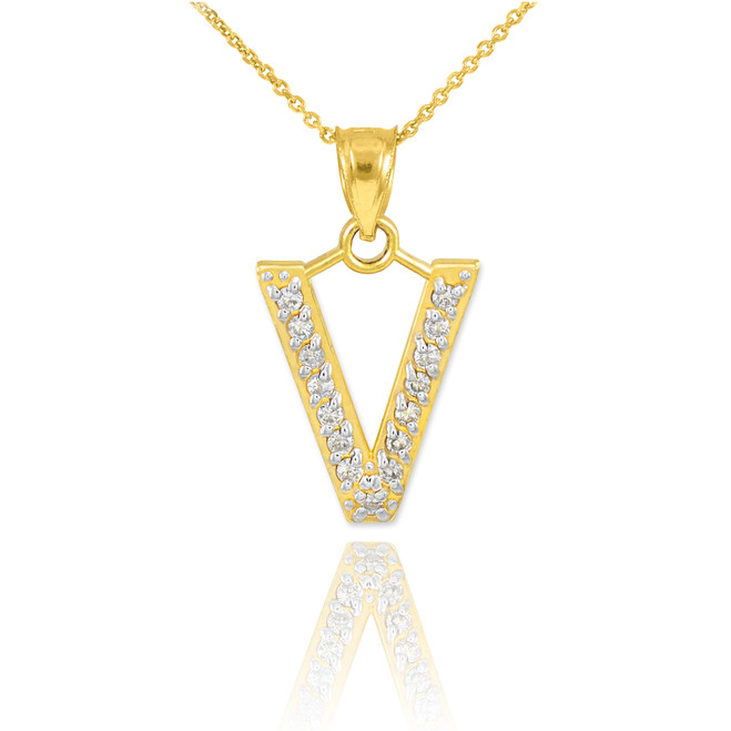 "Gold Letter ""V"" Diamond Initial Pendant Necklace"