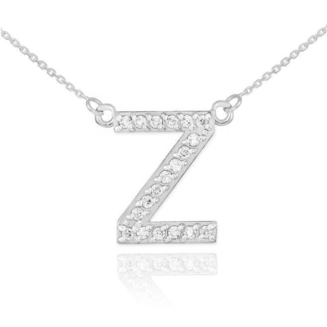 "14k White Gold Letter ""Z"" Diamond Initial Necklace"