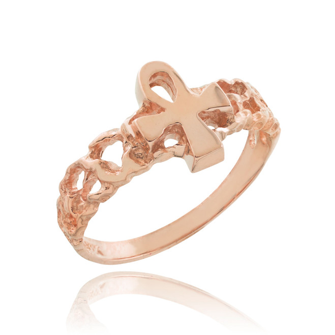 Rose Gold Ankh Cross Nugget Knuckle Ring