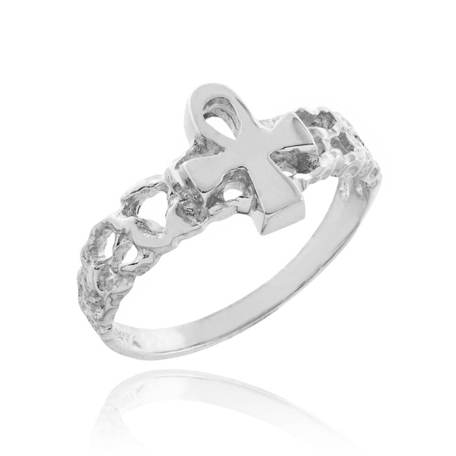 Sterling Silver Ankh Cross Nugget Ring