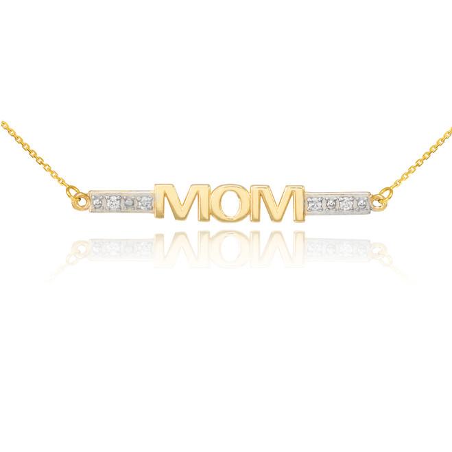 14k Two-Tone Gold Diamond MOM Necklace