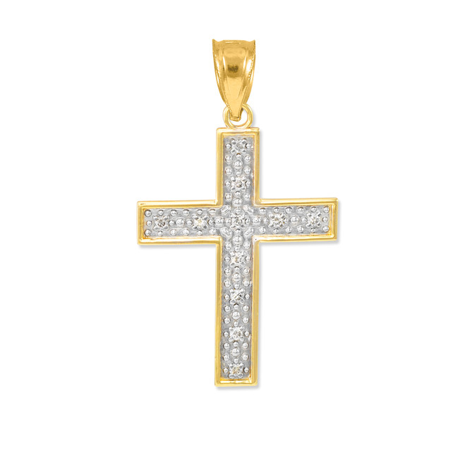 Gold Diamond Cross Small Pendant