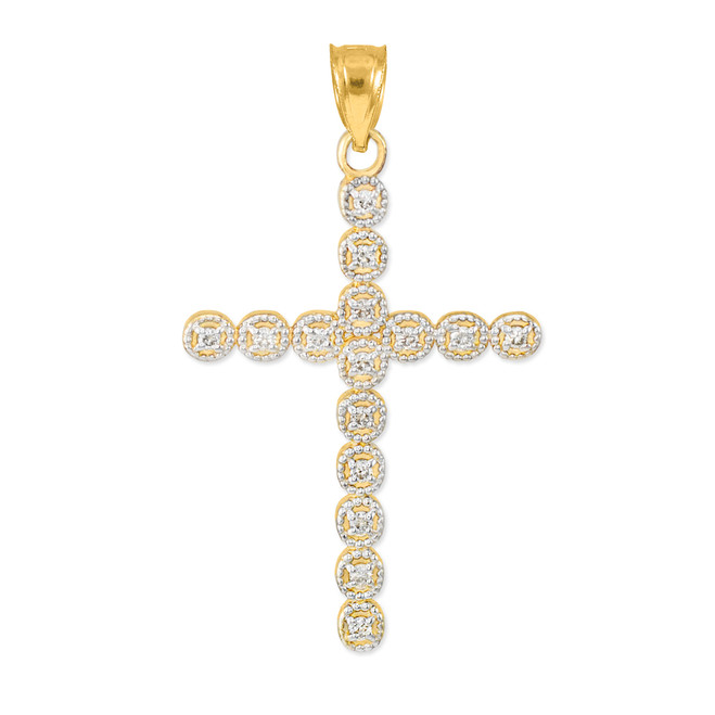 Gold Diamond Eternity Circle Cross Pendant