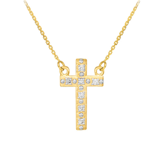 14k Gold Small Cross Necklace with Diamonds