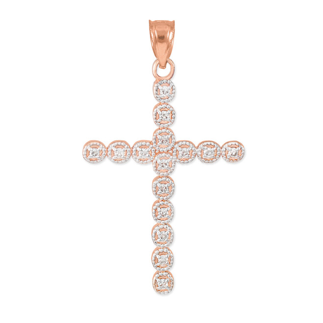 Rose Gold Diamond Eternity Circle Cross Pendant