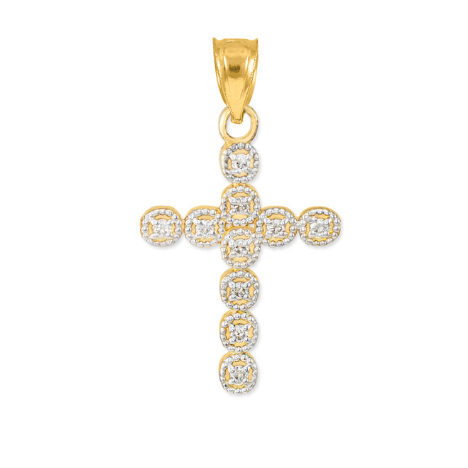 Gold Diamond Eternity Circle Small Cross Pendant
