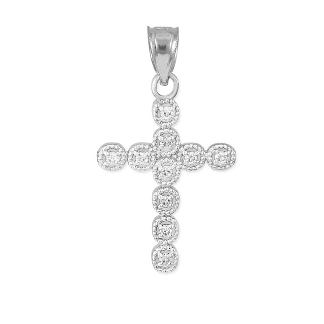 White Gold Diamond Eternity Circle Small Cross Pendant