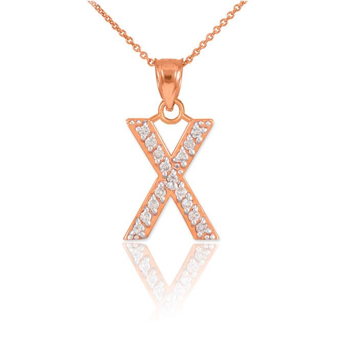 "Rose Gold Letter ""X"" Diamond Initial Pendant Necklace"